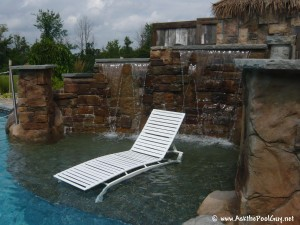 Gunite sun shelf in a vinyl liner pool--the perfect place for a lounge chair.